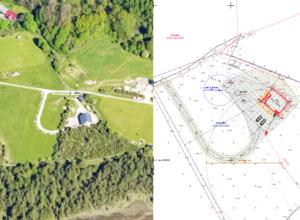 Aerofoto 2020 ja projekti asendiplaan