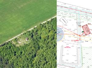 Saunamaja asendiplaan ja aerofoto Maa-ameti fotolaost 2020